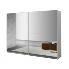 Sliding door cupboard High-gloss White-Mirror
